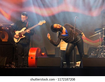 Helsinki, Finland - August 27,2018: An Ethio-American singer Meklit performing at Helsinki Festival 2018 in Huvila Festival Tent. Meklit's music has brought her to work together with the United Nation