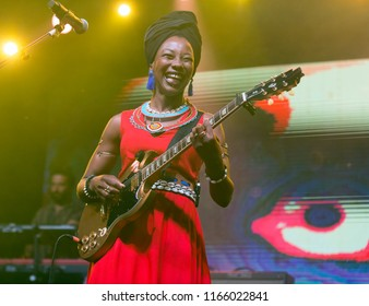 Helsinki, Finland - August 27,2018: A Malian singer Fatoumata Diawara performing at Helsinki Festival 2018 in Huvila Festival Tent. She is as one of the most interesting names in world music
