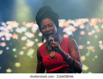 Helsinki, Finland - August 27,2018: A Malian singer Fatoumata Diawara performing at Helsinki Festival 2018 in Huvila Festival Tent. She is as one of the most interesting names in world music.