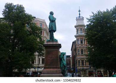 Helsinki, Finland - August 29 2018: Johan Ludvig Runeberg Statue in Esplanade Park
