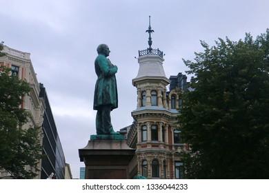 Helsinki, Finland - August 29 2018: Statue of Johan Ludvig Runeberg in Esplanade Park