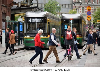 Helsinki, Finland - August 30: Unidentified people in Helsinki Old Town, Finland at August 30, 2018. Helsinki is the capital city and most populous municipality of Finland