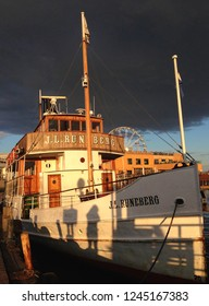 Helsinki, Finland - August,2018: Traditional Finnish wooden cruise boat MS J.L. Runeberg, a historic passenger and steam ship sailing to Porvoo from Linnanlaituri quay in Helsinki, capital of Finland