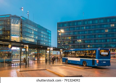 Helsinki, Finland. Bus Is At Stop On Helsinki Railway Square. Square Serves As Helsinki Secondary Bus Station