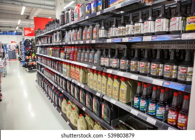 HELSINKI, FINLAND - CIRCA DEC, 2016: A lot of motorcycle oils and lubricants are in motorbike store. The Motonet is a large chain retailer of auto and moto-bicycle goods in Finland
