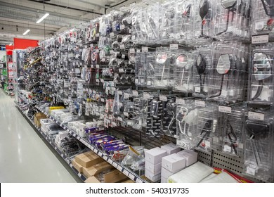 HELSINKI, FINLAND - CIRCA DEC, 2016: A motorcycling apparel and spare parts are in motorcycle department of wholesale market. The Motonet is a large retailer of auto goods in Finland
