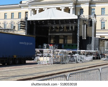 HELSINKI, FINLAND - CIRCA JUNE 2012: live concert equipment on stage