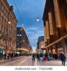 HELSINKI, FINLAND - DECEMBER 09, 2017: City decorated for Christmas, evening lights
