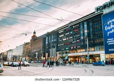 Helsinki, Finland - December 10, 2016: Shopping Center Forum On Mannerheimintie Or Mannerheim Avenue In Winter Day.