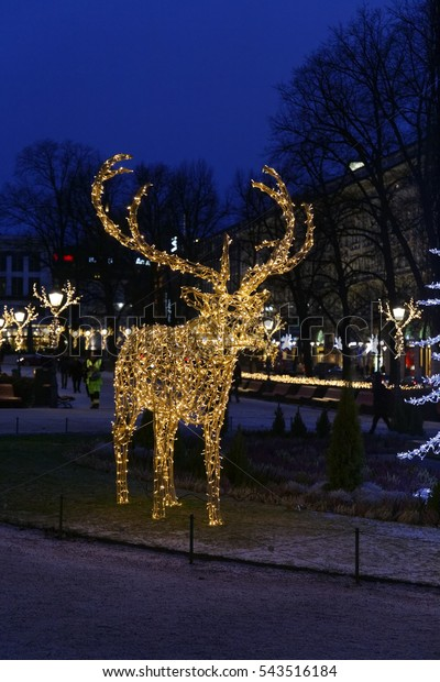 Finland Christmas Decorations.Helsinki Finland December 15 2016christmas Decorations Stock