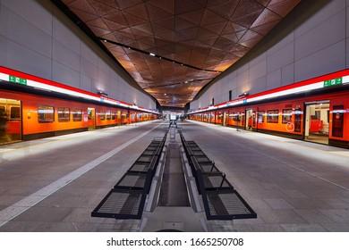 Helsinki, Finland - December 19 2017; Helsinki metro, Aalto-yliopisto station