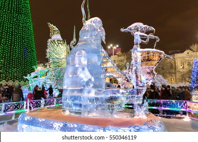 Helsinki, Finland - December 25, 2016: Bright monster of ice on the night street