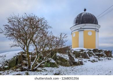 HELSINKI, FINLAND - DECEMBER 2ND, 2017: Snow surrounding the Ursa Observatory