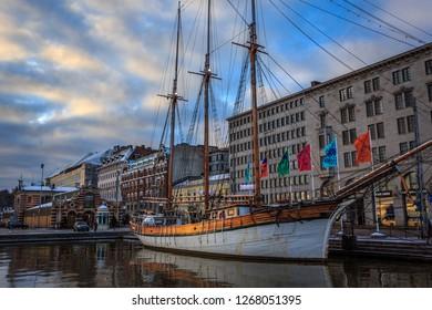 HELSINKI, FINLAND - DECEMBER 2ND, 2017: A schooner in the harbour of Helsinki's Market Square
