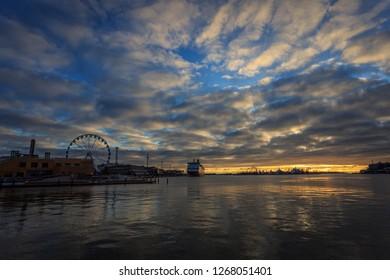 HELSINKI, FINLAND - DECEMBER 2ND, 2017: Sunrise over Helsinki Harbour
