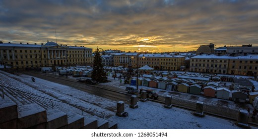 HELSINKI, FINLAND - DECEMBER 2ND, 2017: Christmas Market in Senate Square, Helsinki