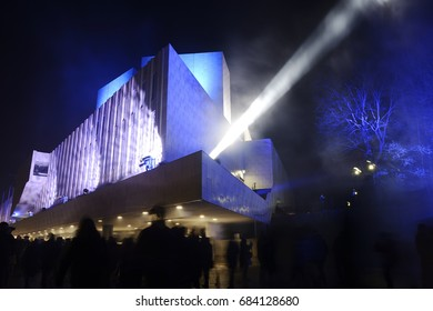 HELSINKI, FINLAND  DECEMBER 31, 2016: 100 years of independence Finland celebrates in 2017. Meeting of the new year at the Finlandia hall in Helsinki.