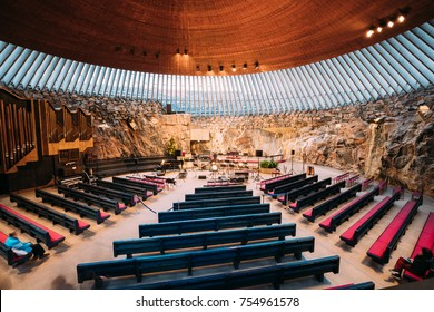 Helsinki, Finland - December 7, 2016: Interior Of Lutheran Temppeliaukio Church Also Known As Church Of Rock And Rock Church.