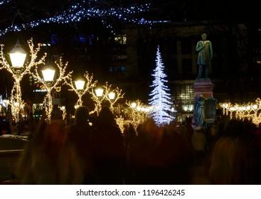 HELSINKI, FINLAND – DECEMBER 7 2017: Christmas lights on the Esplanade in Helsinki at night
