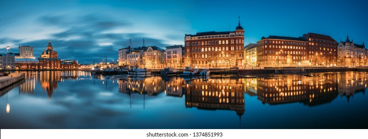 Helsinki, Finland - December 9, 2016: Panoramic View Of Kanavaranta Street With Uspenski Cathedral And Pohjoisranta Street In Evening Night Illuminations.