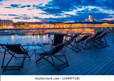 Helsinki. Finland Embankment of the Helsinki. Evening in Finland. Outdoor pool in Helsinki. Panoramic view of the promenade. St. Nicholas Cathedral. Public spaces of Finland. Suurkirkko. Europe