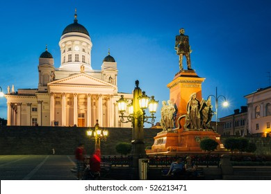 Helsinki, Finland. Famous Landmark In Finnish Capital - Senate Square With Lutheran Cathedral And Monument To Russian Emperor Alexander II At Summer Night
