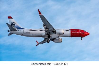Helsinki, Finland - Feb 23, 2019: Norwegian Boeing 737 MAX 8  landing