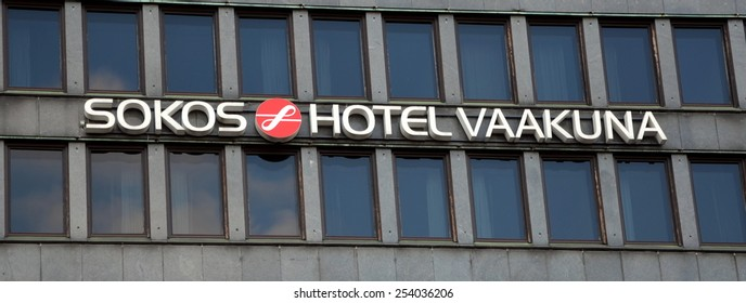 HELSINKI, FINLAND, FEBRUARY 17, 2015 - Sokos Hotels is a Finnish hotel chain. It is the biggest hotel chain in Finland. It also has one hotel in Tallinn, Estonia and three in St Petersburg, Russia