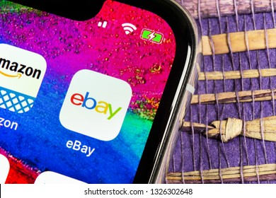 Helsinki, Finland, February 17, 2019: eBay application icon on Apple iPhone X screen close-up. eBay app icon. eBay.com is largest online auction and shopping websites.
