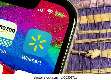 Helsinki, Finland, February 17, 2019: Walmart application icon on Apple iPhone X screen close-up. Walmart app icon. Walmart.com is multinational retailing corporation