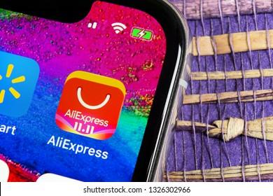 Helsinki, Finland, February 17, 2019: Aliexpress application icon on Apple iPhone X smartphone screen. Aliexpress app icon. Aliexpress.com is popular e-commerce application. Social media icon