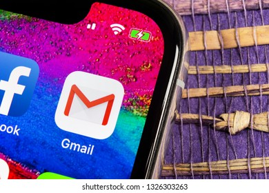 Helsinki, Finland, February 17, 2019: Google Gmail application icon on Apple iPhone X smartphone screen close-up. Gmail app icon. Gmail is popular Internet online e-mail. Social media icon