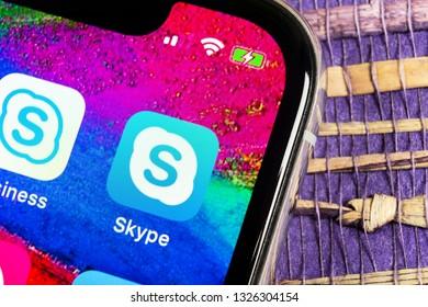 Helsinki, Finland, February 17, 2019: Skype application icon on Apple iPhone X smartphone screen close-up. Skype messenger app icon. Social media icon. Social network. Skype app icon.