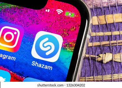 Helsinki, Finland, February 17, 2019: Shazam application icon on Apple iPhone X screen close-up. Shazam app icon. Shazam is popular online music application. Social media app