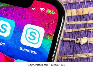Helsinki, Finland, February 17, 2019: Skype business application icon on Apple iPhone X smartphone screen close-up. Skype business messenger app icon. Social media icon. Social network. Skype app icon