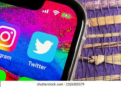 Helsinki, Finland, February 17, 2019: Twitter application icon on Apple iPhone X smartphone screen close-up. Twitter app icon. Social media icon. Social network