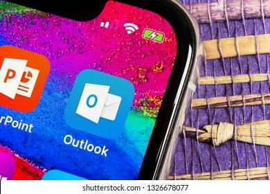 Helsinki, Finland, February 17, 2019: Microsoft Outlook office application icon on Apple iPhone X screen close-up. Microsoft outlook app icon. Microsoft OutLook application. Social media network