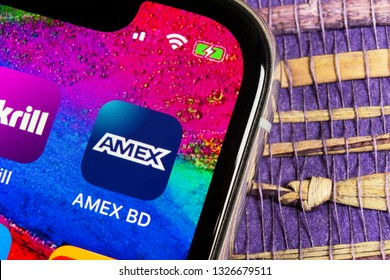 Helsinki, Finland, February 17, 2019: Amex application icon on Apple iPhone X smartphone screen close-up. Amex app icon. American express is an online electronic finance payment system.