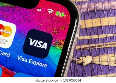 Helsinki, Finland, February 17, 2019: Visa application icon on Apple iPhone X screen close-up. Visa app icon. Visa online application. Social media app