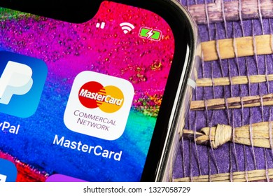 Helsinki, Finland, February 17, 2019: MasterCard application icon on Apple iPhone X screen close-up. Master Card icon. MasterCard online application. Social media app