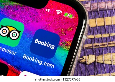 Helsinki, Finland, February 17, 2019: Booking.com application icon on Apple iPhone X screen close-up. Booking app icon. Booking.com. Social media app. Social network