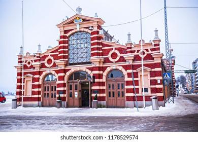 HELSINKI, FINLAND - February 2018: Old Market Hall building in Helsinki. Historical fish market, Finland
