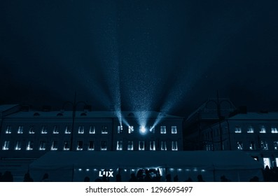 Helsinki, Finland - January 10, 2016: light projection from the window at the Lux Helsinki 2016 light arts festival in snowing conditions at the Senate Square in the center of Helsinki, Finland.