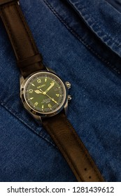Helsinki, Finland - January 10 2019: Seiko SARB017 Alpinist (green and gold dial)