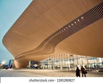 Helsinki, Finland. January 15 2019 - Oodi, the new Helsinki central library