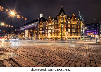Helsinki, Finland, January 26, 2018: Helsinki decorated for the New Year and Christmas