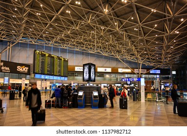 Helsinki / Finland — January 31, 2015: a hall inside the terminal of Helsinki Vantaa Airport. Vantaa Airport is a major airport serving the city of Helsinki, the capital of Finland