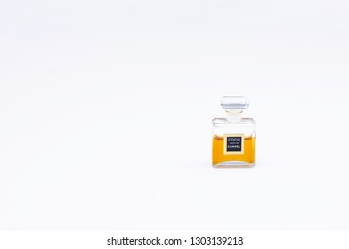 Helsinki / Finland - January 31 2019: Coco Chanel perfume glass bottle with bright white background - Image