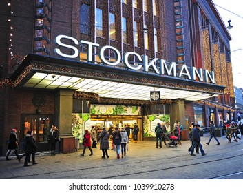 HELSINKI, FINLAND - JANUARY 4: View of the Stockmann shopping centre in Helsinki on January 4, 2016. Helsinki is the capital and largest city of Finland.