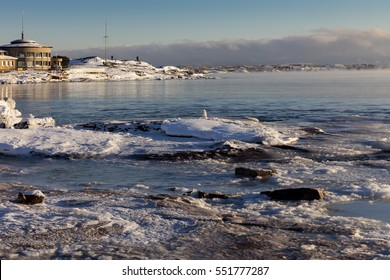 HELSINKI, FINLAND - JANUARY 6, 2017: Sea smoke over freezing sea surface in Helsinki, Finland